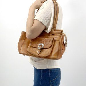 Vintage Hand-Tooled Brown Leather Shoulder Bag